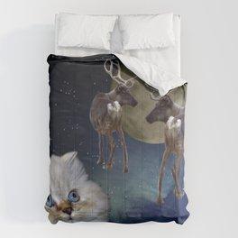 Cat and Reindeers Comforters
