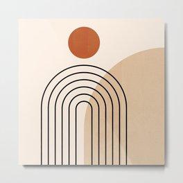 Abstraction_NEW_SUN_DAWN_MOUNTAINS_LINE_POP_ART_008B Metal Print