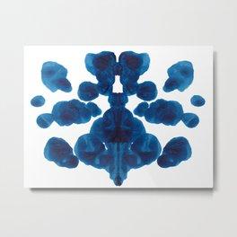 Inkblot Bunny Blue Inkblot Rorschach Test Metal Print