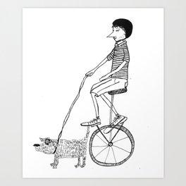 biker with unicycle and dog Art Print