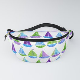 Watercolor colorful boats Fanny Pack