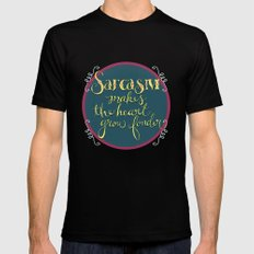 Sarcasm Makes the Heart Grow Fonder MEDIUM Mens Fitted Tee Black