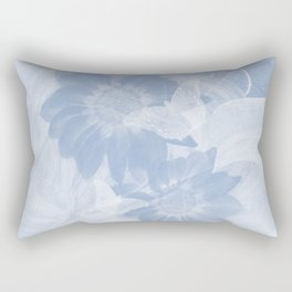 Delicate white butterflies and denim blue flowers in abstract fractal Rectangular Pillow
