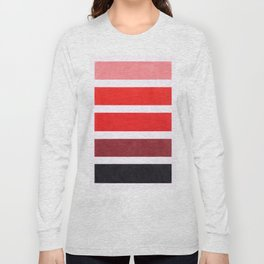 Colorful Red Geometric Pattern Long Sleeve T-shirt