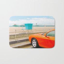 Car on the beach - v26 Bath Mat