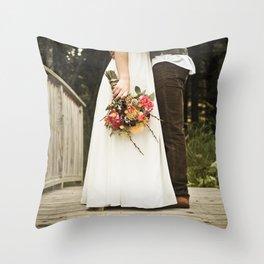 flowers on bridge Throw Pillow