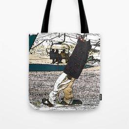 Sliding In - Snowboarder Fool Tote Bag