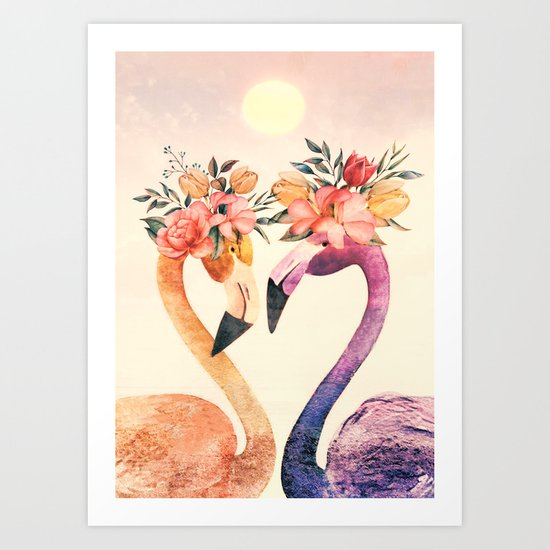 Flamingos II Art Print