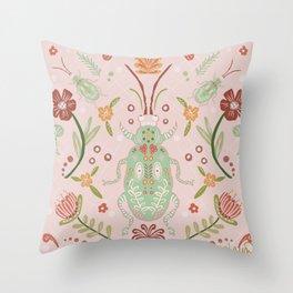 Pink Folk Art Beetle Throw Pillow