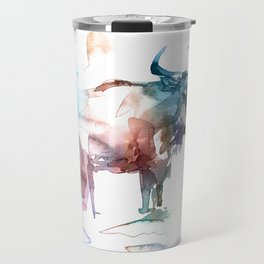 Wildebeest 2 / Abstract animal portrait. Travel Mug