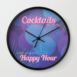 Happy Hour Cocktails Neon Sign Wall Clock