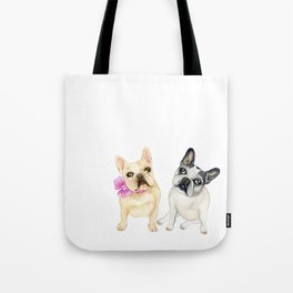 French Bulldogs adorable head tilt fawn and black and white frenchies must have gift for pet lovers Tote Bag