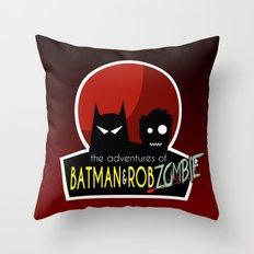 The Adventures of Bat man and Rob Zombie Throw Pillow