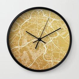 Gold Leeds map Wall Clock