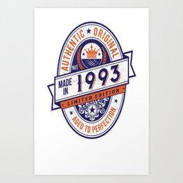 Made-In-1993-Birthday-T-Shirt-24th-Birthday-Gift-Idea Art Print