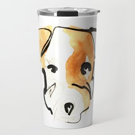 Black Ink and Watercolor Jack Russell Terrier Dog Travel Mug