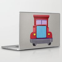 truck Laptop & iPad Skins featuring red truck by elvia montemayor