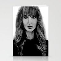 jennifer lawrence Stationery Cards featuring Jennifer Lawrence by Lydia Dick