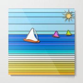 Sail Away Summer and Beach Art Bevelled Effect Metal Print