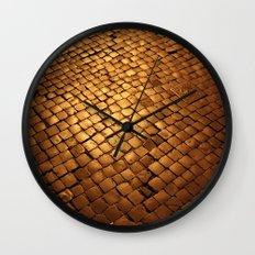 paving stone gold Wall Clock