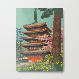 Asano Takeji Spring in Daigoji Temple Vintage Japanese Woodblock Print Detailed East Asian Art Metal Print