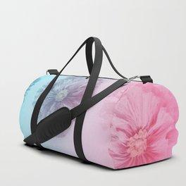 Blue Gradient Flower Grid Duffle Bag