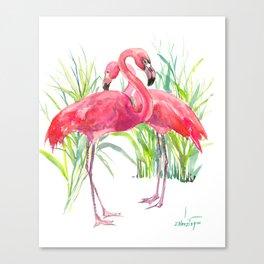 Flamingos, two flamingo birds, pink green art Canvas Print