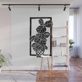 Fiddle Leaf Fig Block Print Wall Mural