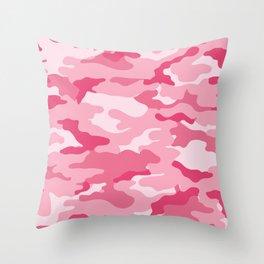 Military Camo - Pink Throw Pillow