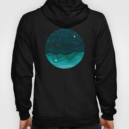 Starry Ocean, teal sailboat watercolor sea waves night Hoody