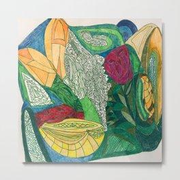 Fruit and Veggie Bowl with Rose Metal Print