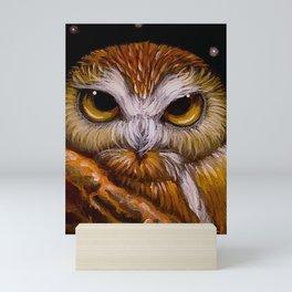 FANTASY SAW WHET OWL WATCHING YOU Mini Art Print