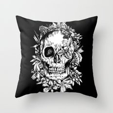floral skull drawing black and white 2 Throw Pillow
