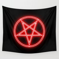 pentagram Wall Tapestries featuring Bright Neon Red Pentagram by PodArtist