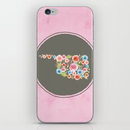 Oklahoma Watercolor Flowers on Pink and Gray iPhone Skin