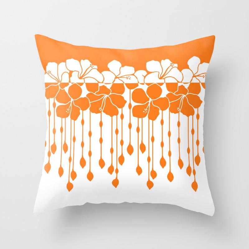 Bead Hibiscus Curtain: Ivory Orange Throw Pillow