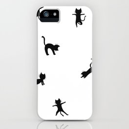 Black cats doing yoga - design for cats and yoga lovers iPhone Case
