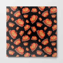 Jack-o-Lanterns with Black background Metal Print