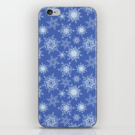 Christmas pattern with snowflakes on blue. iPhone Skin