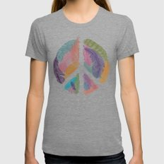 Feathers for Peace (Peace Sign) MEDIUM Womens Fitted Tee Tri-Grey