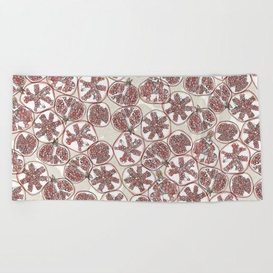 watercolor pomegranates Beach Towel