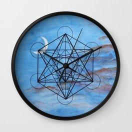 Metatron's Cube at Sunset Wall Clock