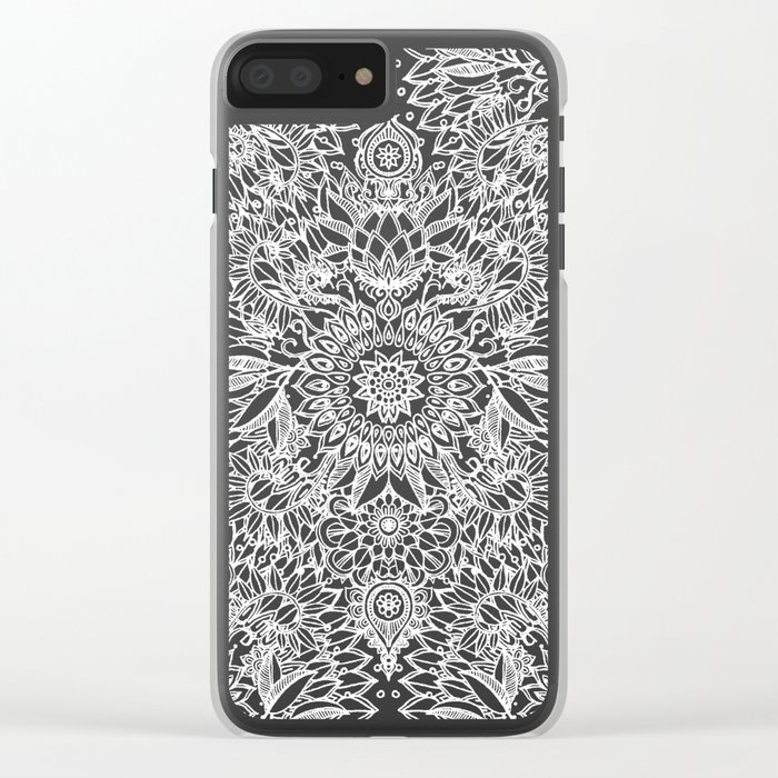 Enchanted Indigo - watercolor + doodle Clear iPhone Case