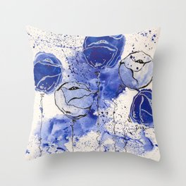 Blue and White Splotch Flowers Throw Pillow