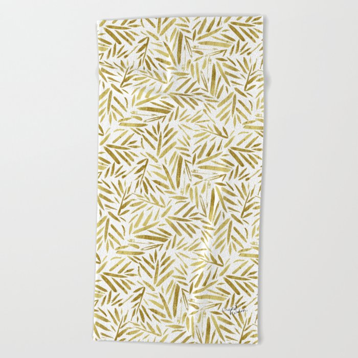 Glam Gold Leaves Beach Towel