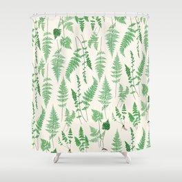 Ferns on Cream I - Botanical Print Shower Curtain