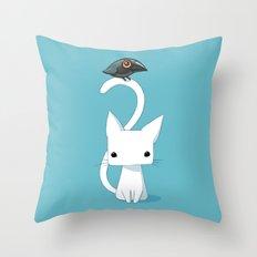 Cat and Raven Throw Pillow
