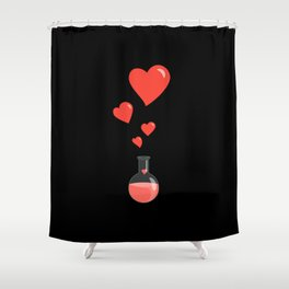 Love Chemistry Flask of Hearts Shower Curtain