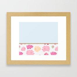 Duck egg blue peony Framed Art Print