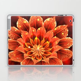 Red Dahlia Fractal Flower with Beautiful Bokeh (Vivid Crimson) Laptop & iPad Skin